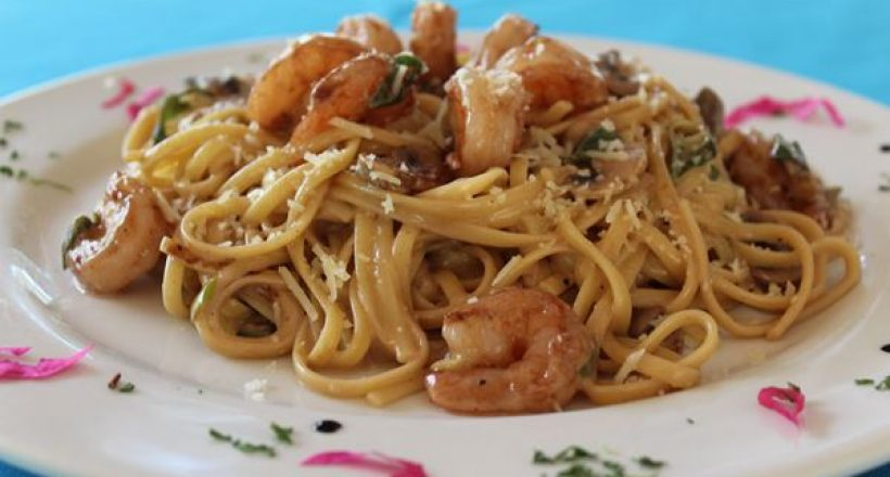 Shrimp in Mushroom and Red Wine Reduction Sauce