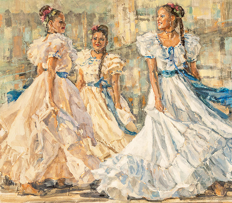White Skirts Blue Sashes by Susan Adams